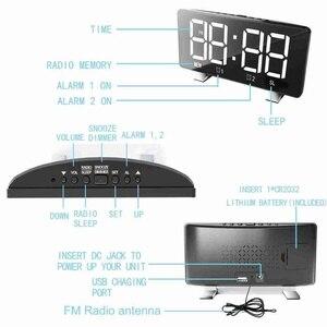 Image 4 - الرقمية LED ساعة تنبيه مرآة متعددة الوظائف غفوة الوقت عرض قابل للتعديل الإضاءة راديو FM ساعة الطاولة الوقت ساعة مكتب الذاكرة