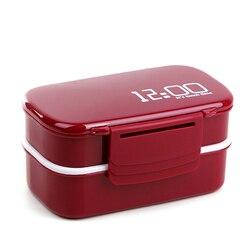 1400ml mikrofalowe dwuwarstwowe pudełko na lunch plastikowe pudełko na lunch Bento pojemnik na jedzenie pracownicy Student Lunchbox z przegródkami|Pudełka śniadaniowe|   -