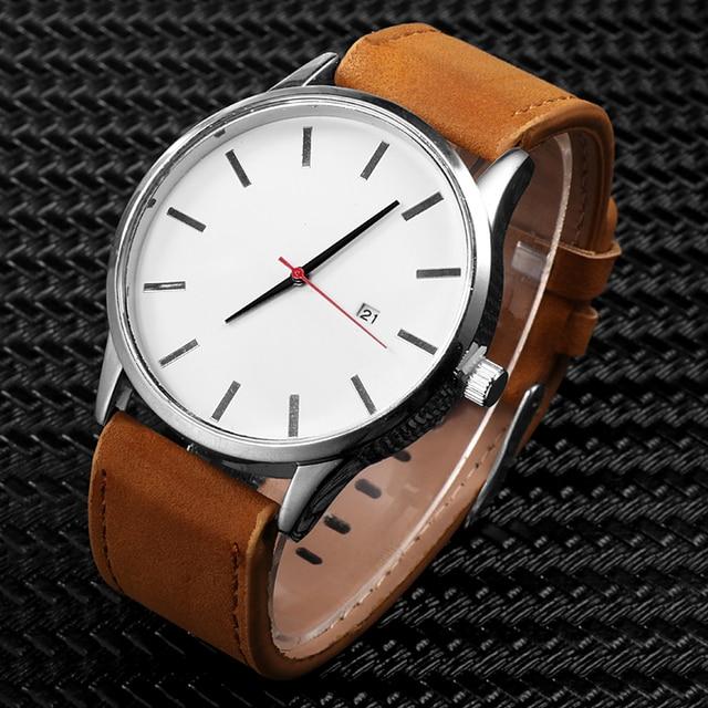 Leather Quartz Watch Men Casual Sports Fashionable Wristwatch 3