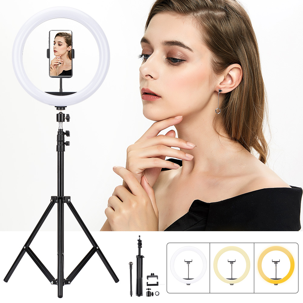 12inch Photography LED Selfie Ring Light Dimmable Camera Phone Holder Ring Lamp Metal Tripod For Tiktok Makeup Video Live Studio