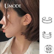 UMODE Simple Layered Clip Earrings Silver Silver 925 Jewelry Fine Jewelry for Women Clip On Earrings Piercing Plata 2019 LE0665