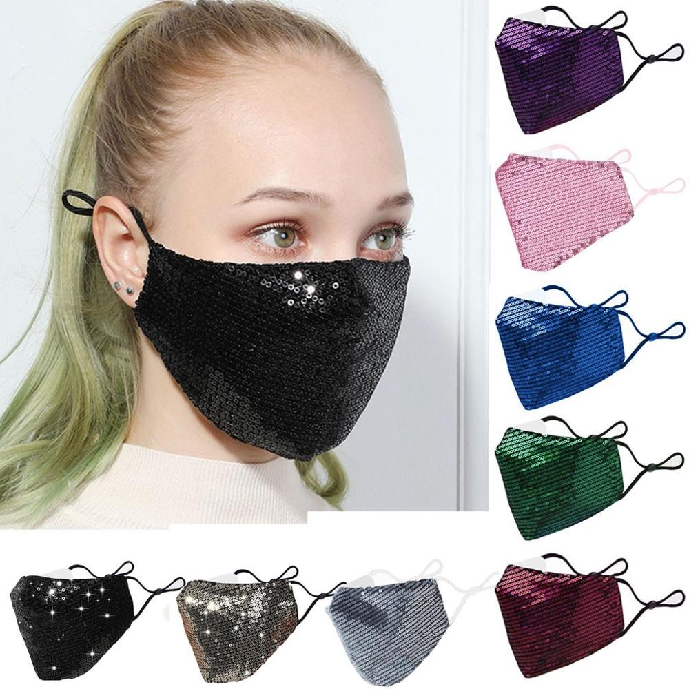 Mouth-Mask Pocket CARBON-FACE-FILTERS with Cotton Adjustable Bling Reuse Sequin
