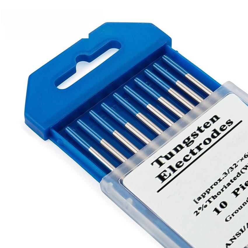 10pcs 2% Lanthanated WL20 TIG Tungsten Electrode 1.0 1.6 2.0 2.4 3.0  4.0  Blue Metalworking