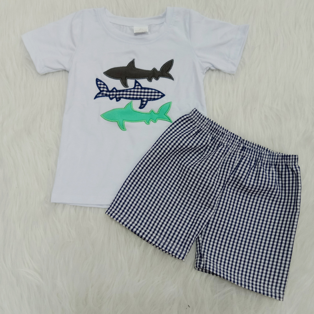 Summer Style Boys Casual Wear Outfit Kids Embroidery Fish T-shirts Seersucker Shorts 2 Pieces Clothes Sets