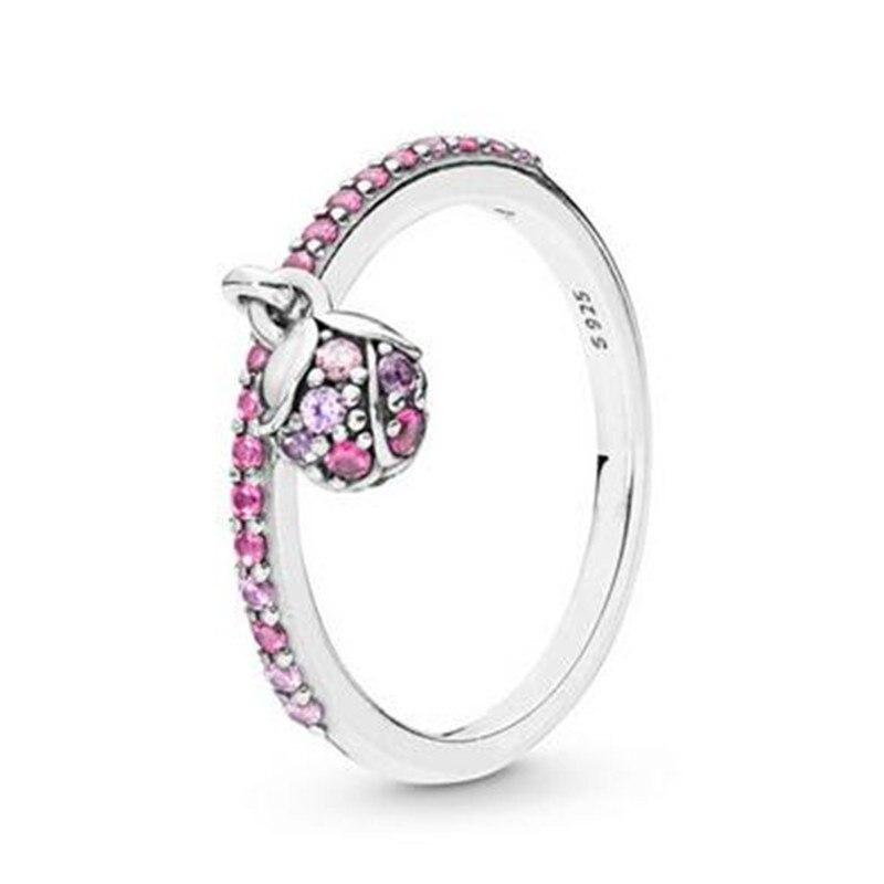 925 Серебряное кольцо из цветков персикового дерева Love In на кровать с цветочным принтом, с розовым кристаллом для женщин вечерние подарок юве...