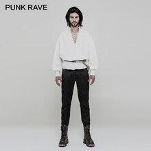 PUNK RAVE Gothic White Long Lantern Sleeve Shirts Retro Laced Neck Stand Collar Loose Men Clothing Disa Floret Inelastic Woven