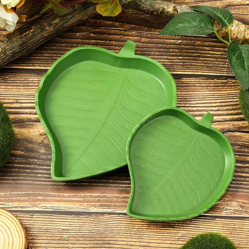 1 Pack Leaf Reptile Food Water Bowl for Pet Aquarium Ornament Terrarium Dish Plate Lizards Tortoises or Small Reptiles Supplies