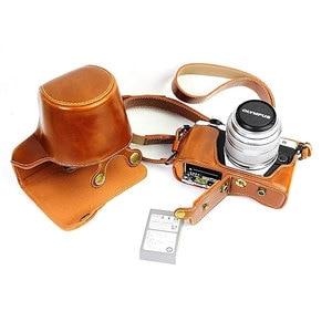 Image 5 - Lüks deri kılıf kapak Olympus EM10 II EM10 III E M10 Mark II Mark III 14 42mm Lens pil açılış ile kamera çantası askısı