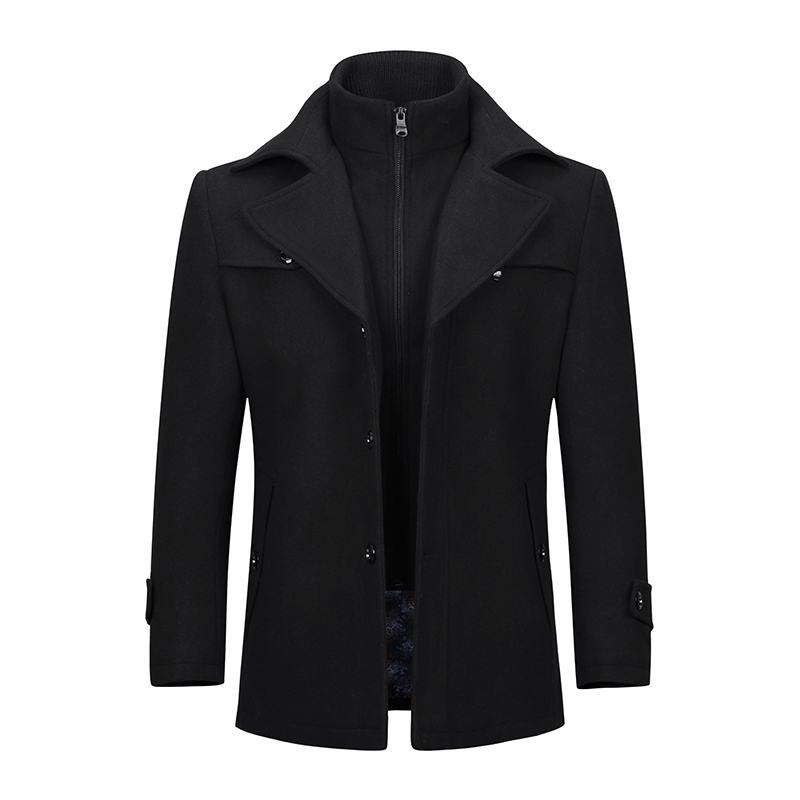YOUTHUP Winter Men's Double Collar Coat Casual Coat Single Breasted Thick Coats Overcoats Topcoat Mens Streetwear 4 Colors