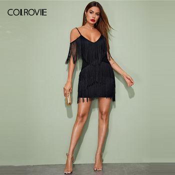 COLROVIE Black Plunging Neck Layered Fringe Cami Bodycon Dress Women Sleeveless Sexy Mini Dress 2020 Spring Slim Pencil Dresses 4