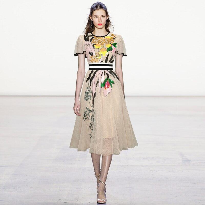 Qian Han Zi designer fashion summer dress Women's flower retro mesh elegant sequin embroidered dress