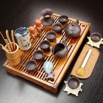 Zisha Ceramic Kung Fu Lazy Tea Set Home Teapot Teacup Solid Wood Small Tea Tray Teaset Semi-automatic Stone mill Modeling
