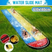 6.1M Inflatable Water Slides Mat Double Dual Person Surf Rider Slider Splash Pool Kids Park Backyard Water Play Mat Outdoor Fun