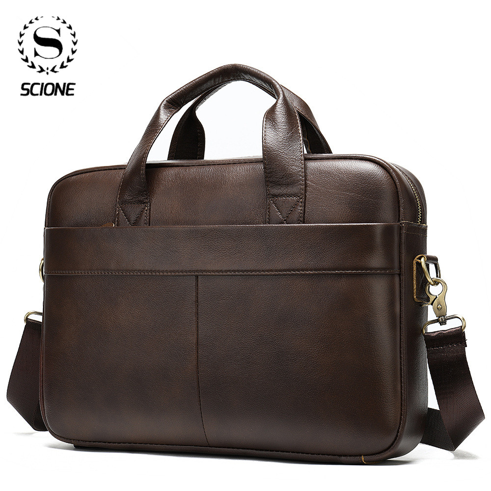Scione Men's Briefcase Bag Men's Genuine Leather Laptop Bag For Men Vintage Office Bag For Male Large Capacity Business Handbag