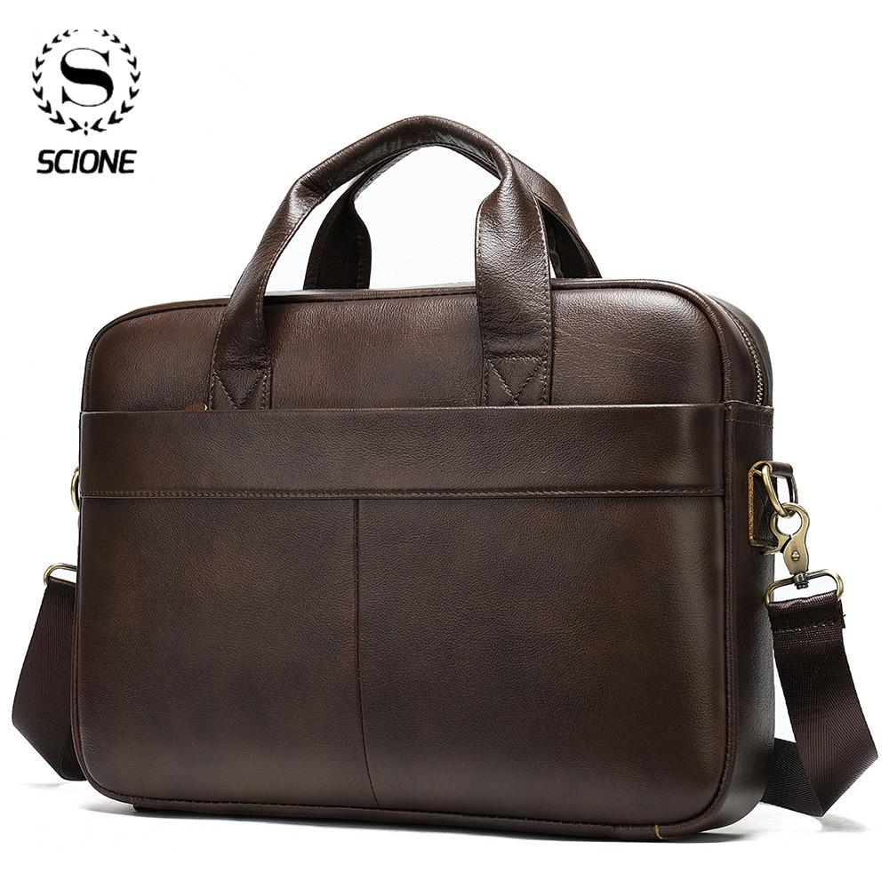 Scione Men's Briefcase Bag Men's Genuine Leather Laptop Bag For Men Vintage Office Bag For Male Large Capacity Business Handbag