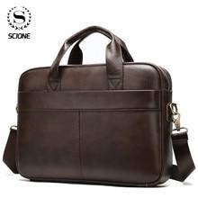 Scione Men's Briefcase Bag Men's Genuine Leather Laptop