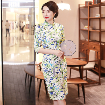 Sheng Coco Plus Size Long Sleeve 2020 Cheongsam Dress Elegant Chinese Traditional Dresses Liene Cotton Vintage Qipao Clothing chinese traditional dress cheongsam modern girl china dresses daily plaid qipao oriental style dresses plus size women clothing