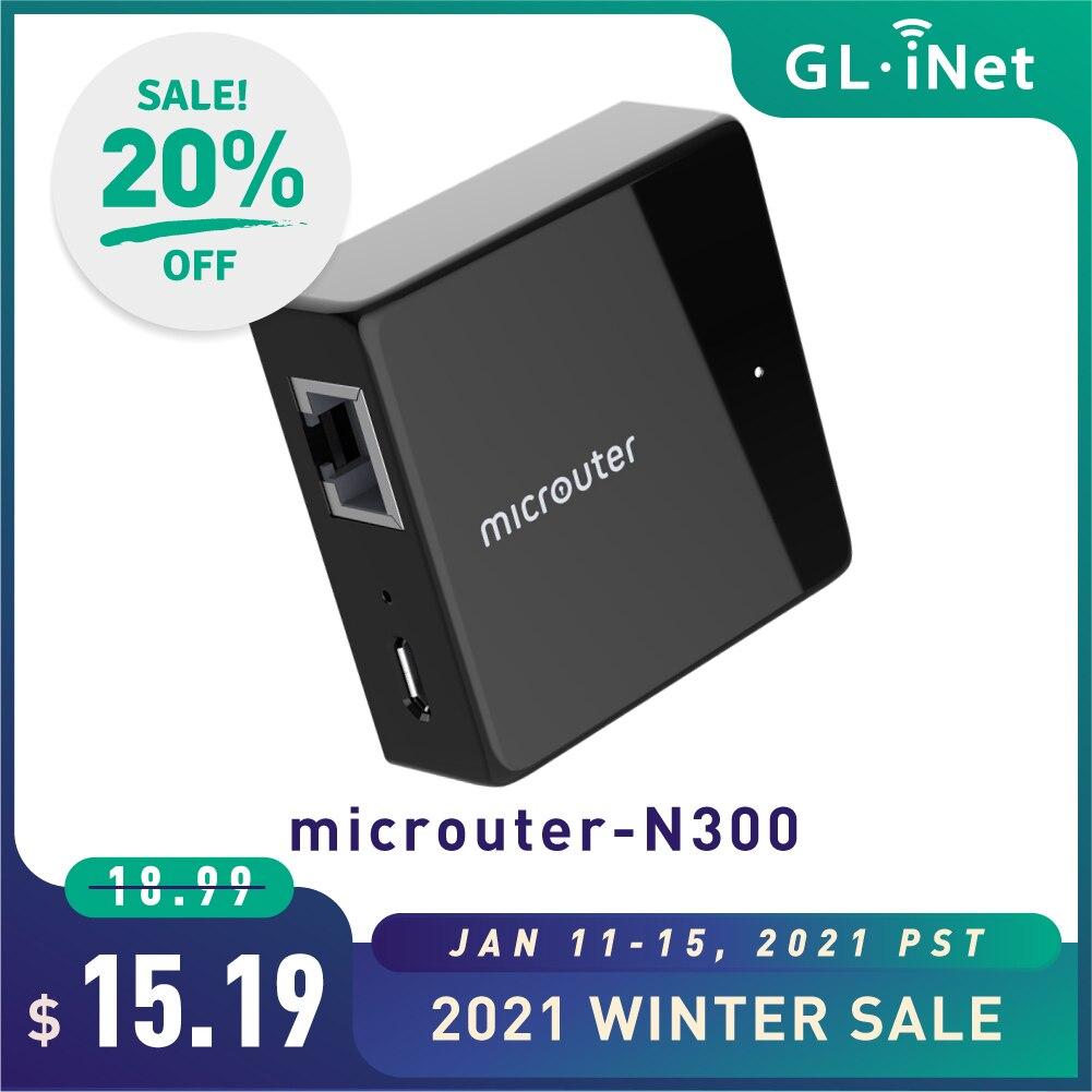GL-iNET Microuter-N300 роутер Nano дорожный маршрутизатор OpenWrt предустановленный Wi-Fi ретранслятор мост AP удлинитель 300 Мбит/с один Ethernet порт