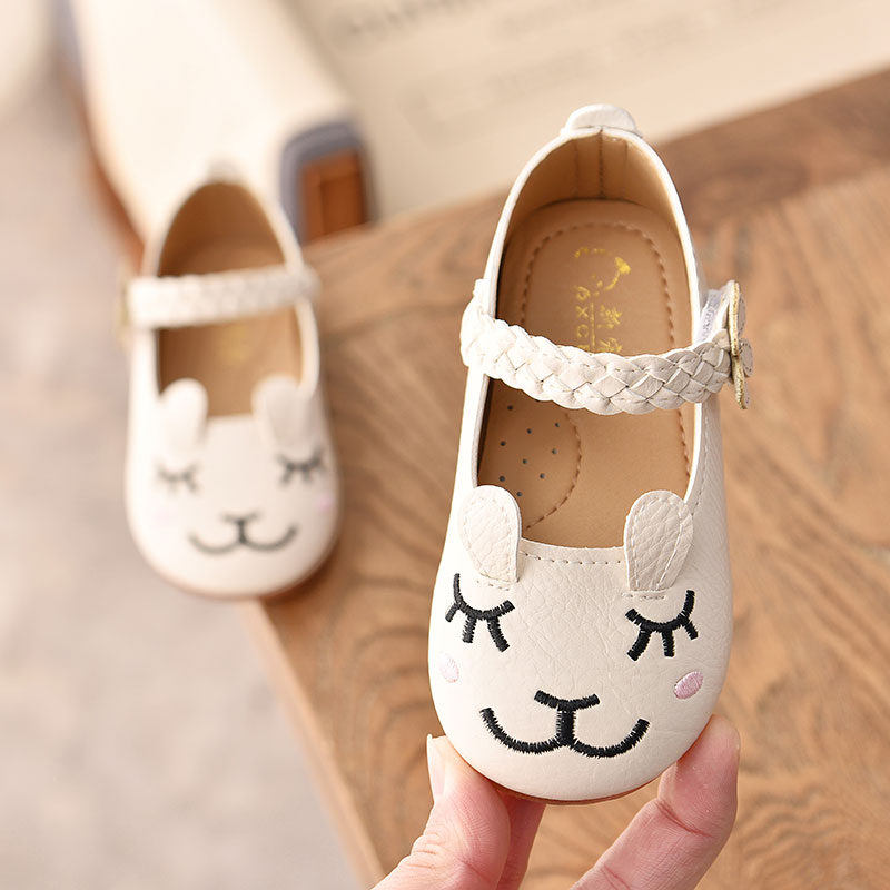 Spring New Girls Leather Shoes Princess Cute Cartoon Rabbit Baby Single Shoes Soft Bottom Kids Sneakers Toddler Shoes SM057