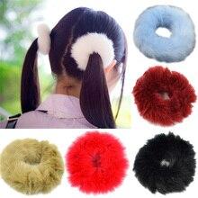 Модные эластичные резинки для хвостика с искусственным кроличьим мехом для девочек, эластичные плюшевые волосы на кольцевом креплении, аксессуары на резиновой резинке
