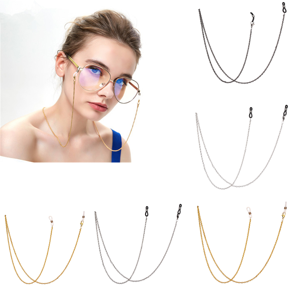 Fashion Reading Glasses Chain For Women Metal Sunglasses Cords Anti Slip Eyeglass Lanyard Hold Straps Gold Silver Black Necklace