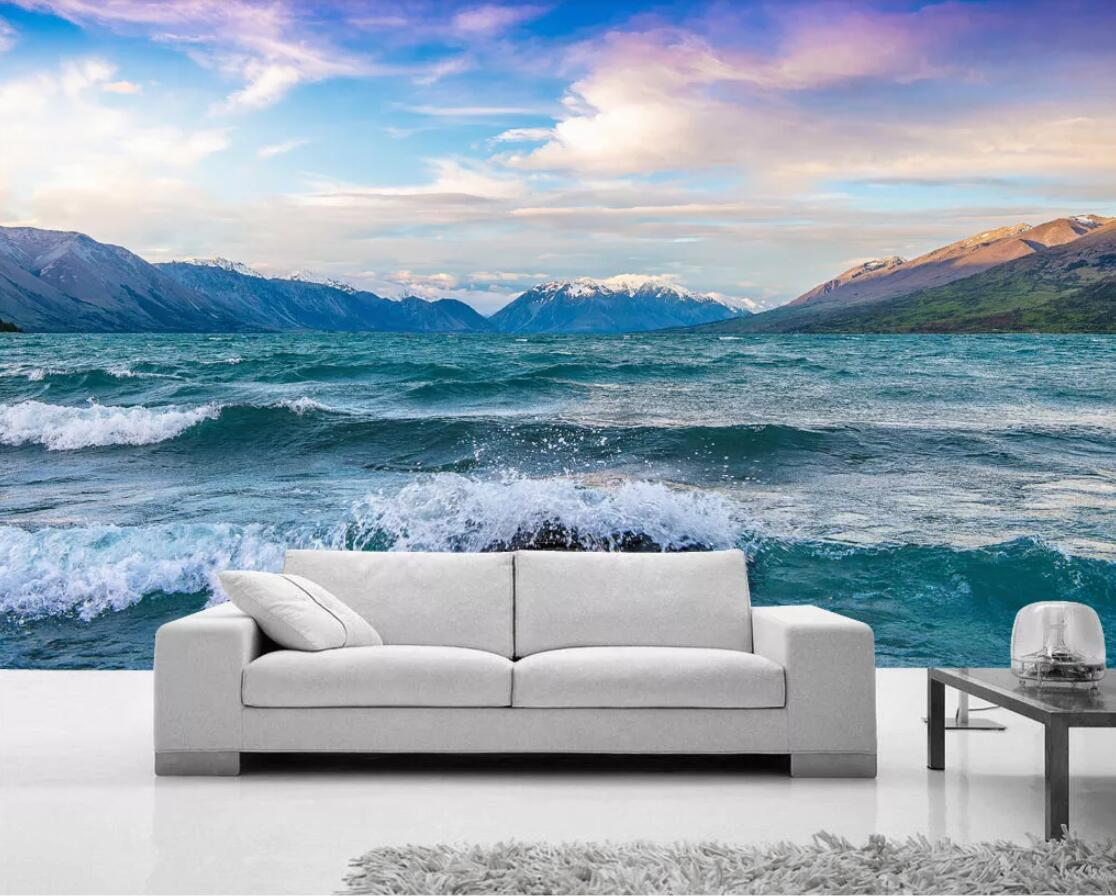 Dédouanement 3D papier peint Mural décor à la maison neige montagne mer paysage pour chambre Photo personnalisée papiers peints livraison directe