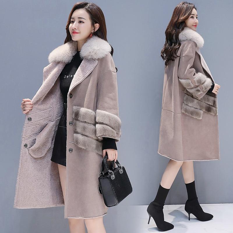 2020 Fashion Ladies Winter Coat Women Faux Fur Jacket + Large Fur Collar Thick Warm Long Sheep Shearing Coat Hiver F81137