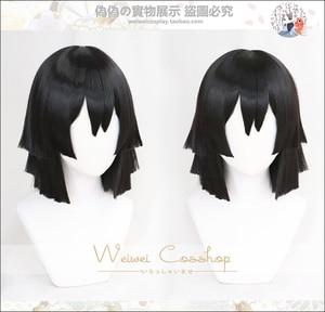 Image 3 - Şeytan Slayer: kimetsu hiçbir Yaiba Iguro Obanai Cosplay peruk siyah sentetik saç cadılar bayramı konser rol oynamak tarz peruk yetişkin için
