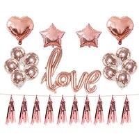LOVE Foil Balloons Confetti Balloon Set Wedding Decoration Pink Rose Balloons I LOVE YOU Letter Balloon