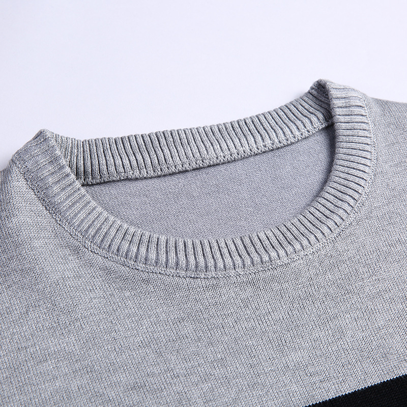 In the spring of 2020 men new stripe of cultivate one's morality round collar thin sweater sweater youth 2