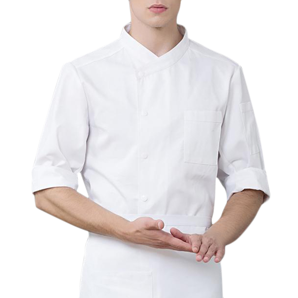 Chef Uniform Women Men's 3/4 Sleeve Chef Coat Unisex Casual Soft Chef Jackets Red Black White Work Clothes Kitchen Jacket M
