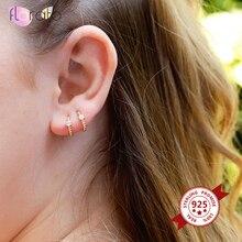 8/9/10mm 925 Sterling Silver Huggie Hoop Earrings for Women Simple Cute Crystal Round Circle Silver Earrings Minimalist Jewelry