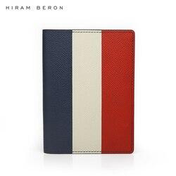 Hiram Beron nombre personalizado libre pasaporte titular viaje cartera Francia bandera color lujo cuero funda Dropship