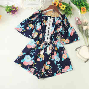 2021 Summer Jumpsuit Women Rompers Ins Boho Printed Playsuits Hollow Lace Trim Sashes Waist Ladies Beach Off-shoulder Romper