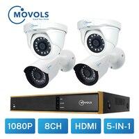 Movols Video Überwachung Kamera Kit 2MP CCTV AHD 2 stücke Kugel 2 stücke Dome kamera Im Freien Wasserdichte 8CH DVR Sicherheit kamera System-in Überwachungssystem aus Sicherheit und Schutz bei