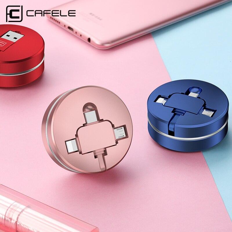 CAFELE 3 в 1 USB Micro Тип C кабель для iphone 8 7 6 samsung huawei Xiaomi Универсальный Выдвижной данных зарядки кабель USB