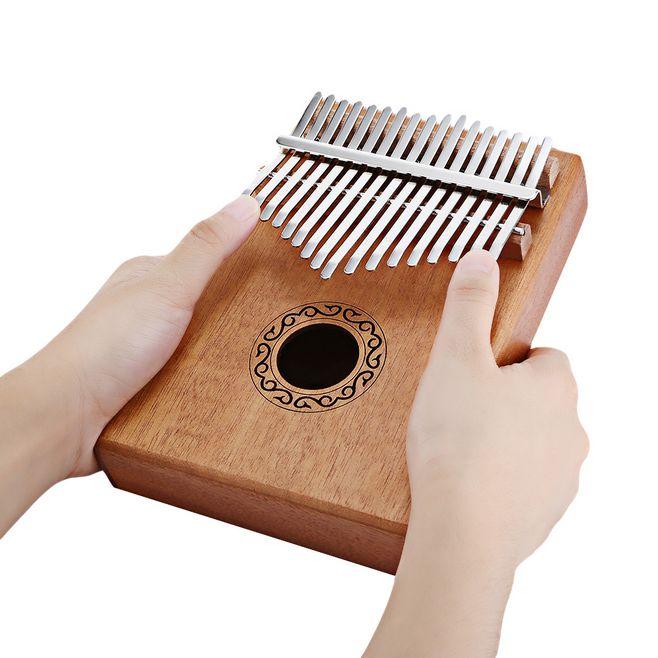 Piano de Madeira Musical com Aprendizagem Martelo para Iniciante Chaves Kalimba Polegar Alta Qualidade Mogno Corpo Instrumento Livro Tune 17