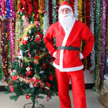 Рождественский костюм Санта-Клауса из 5 предметов; Комплект для взрослых с ремнем; шапка с бородой; брюки; Новинка; костюм для костюмированной вечеринки; рождественские комплекты