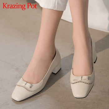 Krazing pot full grain leather comfortable shoes square toe med heels butterfly-knot sweet Korean girls dating wear pumps L25