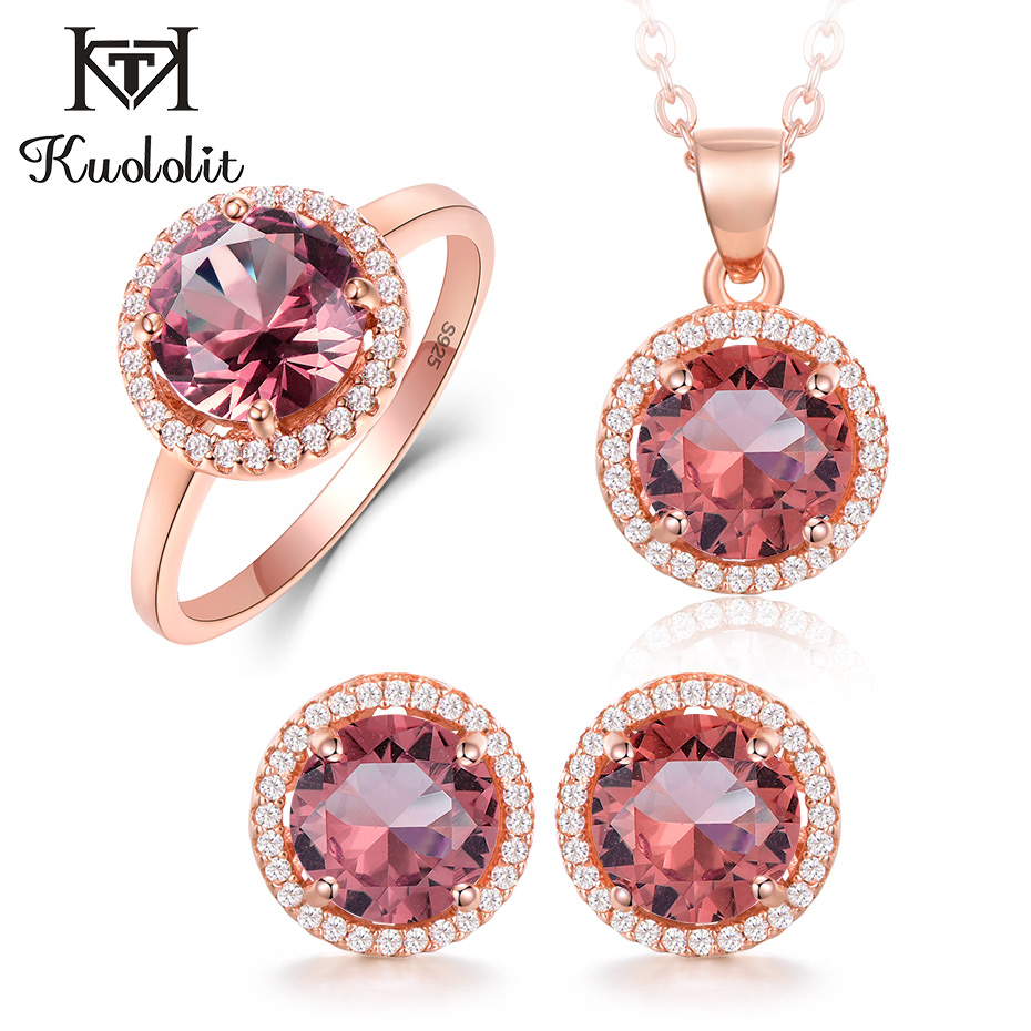 Kuololit Zultanite Diaspore Gemstone Jewelry Set For Women Solid 925 Sterling Silver 585 Ring Earrings Necklaces Color Change