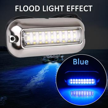 Universal 3.5W 12V 27 LED Marine Stainless Steel Under Water Pontoon Boat Tail Lamp Waterproof Boat Transom Light White/Blue 1Pc water paddle boat hand boat for child under 7 years old