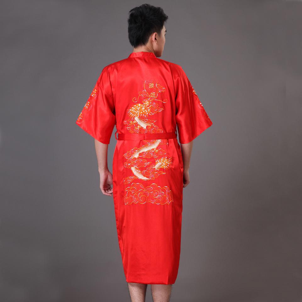 Повседневная мужская пижама с коротким рукавом, кимоно, платье, изысканная вышивка, Свадебный халат с драконом, летняя Мягкая атласная ночная рубашка, домашняя одежда, пижама - Цвет: Red A