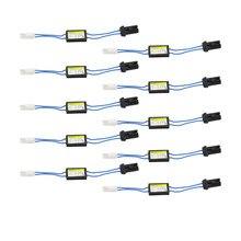 Adaptador de alarme de led t10/t15 w5w, decodificador, resistor de carga sem erro e fiação, adaptador de cancelador de pisca para europeu, com 10 peças luzes do carro