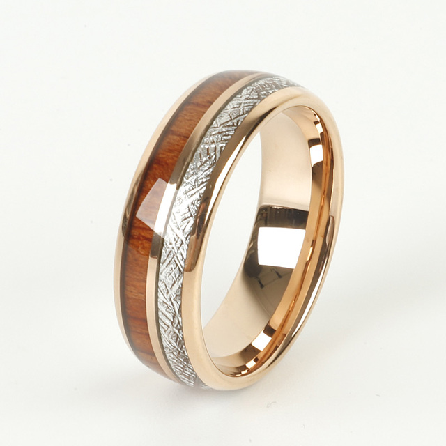 Custom LOVE Alliances wood meteorolites 8mm Tungsten Carbide ring Rose Gold Color wedding band Couple rings for men and women