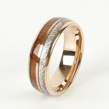 Custom LOVE Allianzen holz meteorolites 8mm Hartmetall ring Rose Gold Farbe hochzeit band Paar ringe für männer und frauen