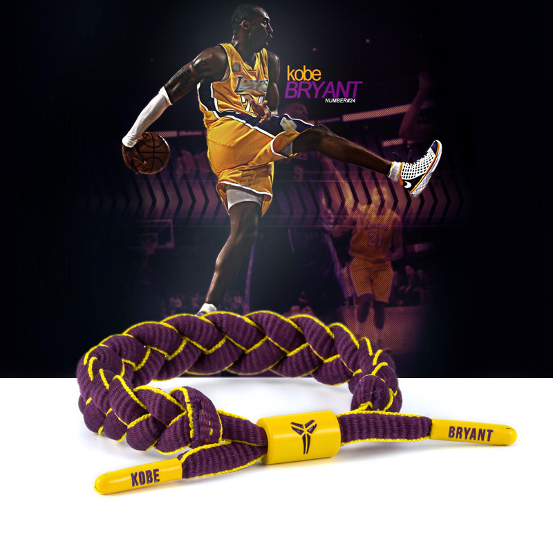 Sports BraceletNew Tide Brand Basketball Star James Kobe Alphabet Goo Library Sports Lace Bracelet Hand
