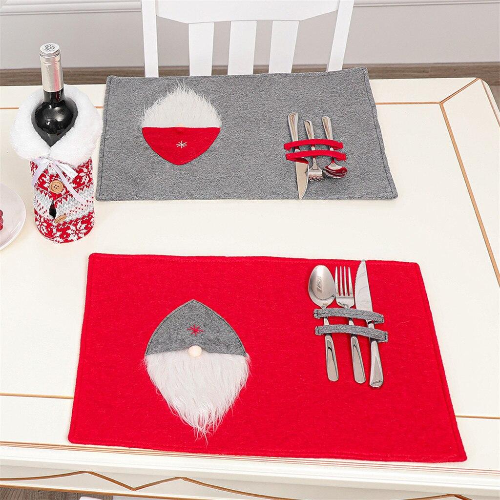 Christmas Ornament Santa Claus Printed Cotton Western Table knife and fork Cover Mat Christmas home decor рождество navidad