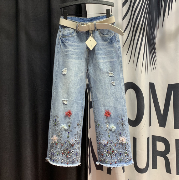 European Style Holes Ripped Jeans Women's 2020 Spring New Beaded Burr Edges Wide Leg Denim Pants Jean Pants Vaqueros Mujer