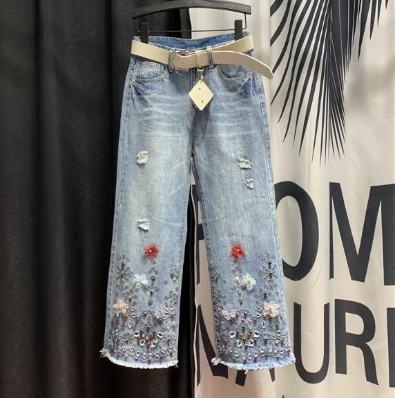 European Style Holes Ripped Jeans Women's 2020 Spring New Beaded Burr Edges Wide Leg Denim Pants Jean Pants Vaqueros Mujer