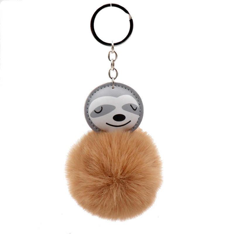 Fluffy Lucu Kartun Hewan Sloth Bradypod Gantungan Kunci Wanita Ransel Pom Pom Gantungan Kunci Dekorasi Anak Hadiah Mobil Gantungan Kunci